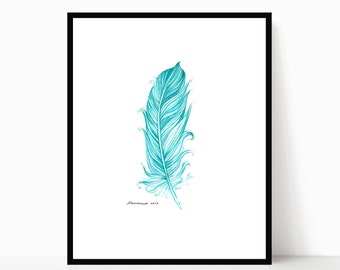 Feather Painting Nursery Decor Original Feather Watercolor 5 X 7 Mint Green Feather Wall Art Feather Artwork Feather Wall Decor Feather Art