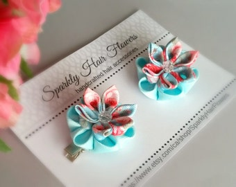 Romantic hair clips, flower clips, woman clips, pastel flower clips, kanzashi flowers, romantic hair flowers, Bridesmaid, Maid of honour