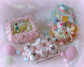 Pink Easter Treasures, Trio of Easter Decorations, Pink Easter Eggs, Egg Carton, Cottage Chic, Country, Pastel Easter Decor, Shabby