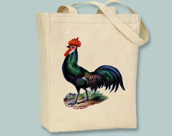 Fabulous Vintage Rooster Image on Canvas Tote with Shoulder Strap  - Selection of sizes available