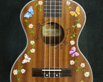 Hand-painted tenor ukulele, brand new, with low G-string and case: Butterfly Meadow design