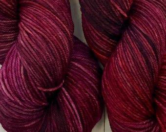 Hand dyed DK yarn, superwash merino & nylon, 246 yds / 100 grams. Great for knitting, crocheting, weaving
