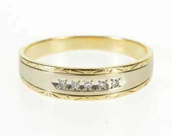 14k Two Tone Grooved Diamond Patterned Wedding Band Ring Gold