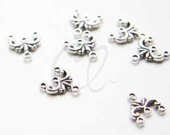 60pcs Oxidized Silver Tone Base Metal 3 to 1 Earring Component - 11.5x13mm (10724Y-O-311)