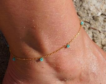 Turquoise Anklet - Beaded Anklet - Boho Anklet - Drop Bead Anklet - Teardrop Ankle Bracelet - Hippie Anklet - Gypsy Style Dainty Anklet