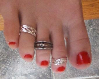 silver plate toe rings