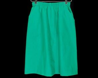 "10 Dollar Sale---Vintage 80's KORET Green Skirt Waist Size 25~32"""