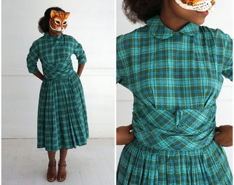 Vintage 50s Short Sleeve Aqua Green Blue Plaid Day Dress with Peter Pan Collar in a Textured Nubby Cotton by Candy Jones | Small