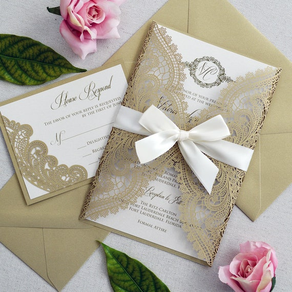 GOLD CHANTILLY LACE Laser Cut Wrap Invitation - Gold Laser Cut Wedding Invitation with Ivory Shimmer Insert and Ivory Ribbon Bow