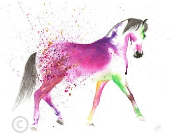 Beautiful Equine horse art trotting movement based print  from an original watercolour painting  sketch individually signed