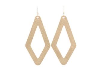Leather earrings,  statement earrings,  cut out earrings, Gold earrings,  modern earrings,  Geometric earrings,  diamond earrings