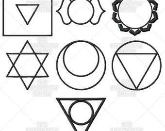 All Seven Chakra Symbols Subtle Energy Machine Embroidery Patterns Designs