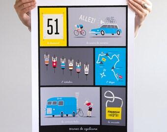 Cycling Art, Tour de France, French Cycling Terms, Art Print