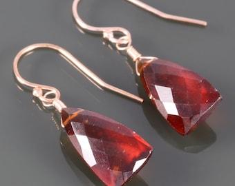 Hessonite Garnet Earrings. Rose Gold Filled Ear Wires. Unique Triangle Shape. Genuine Gemstone. January Birthstone. f16e075