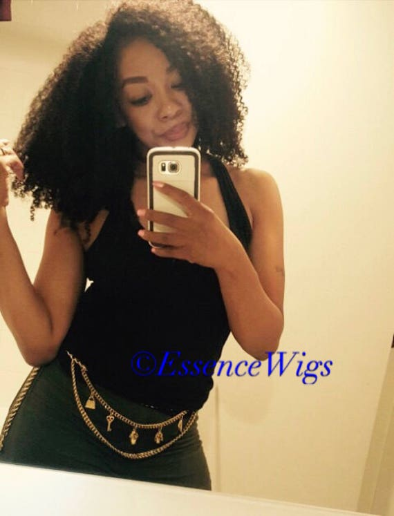 """Essence Wigs The """"AfriKurly"""" Lacefront Wig 100% Brazilian Virgin Human Hair Black Wig Afro Kinky Curly Lace Wig Unit 3C 4B 4A Natural hair"""