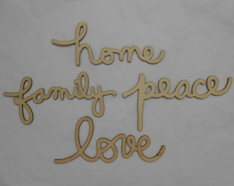 4 Large Wooden Words Embellishments Decorations for Scrapbooking Card Making