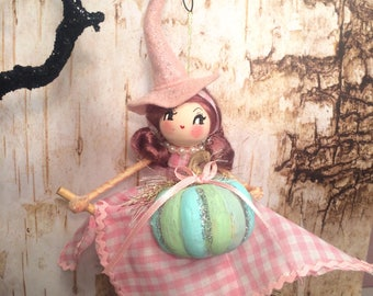 Halloween decor witch ornament vintage retro inspired art doll pink halloween witch doll