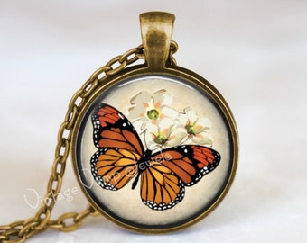Monarch Butterfly Pendant Necklace Monarch Wing Swallowtail Moth Art Jewelry Charm, Insect Jewelry, Gift for Entomologist Entomology