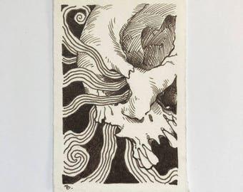 The Ties that Bind #3 skull pen and ink sepia drawing ORIGINAL