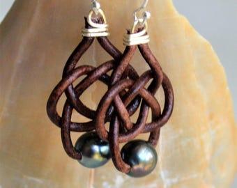 Celtic Tahitian Pearl Earrings Genuine Tahitian Dark 8 mm Pearls Brown Leather Earrings Pearls On Leather Boho Bohemian For Her Yevga