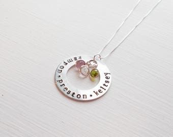 Custom Hand Stamped Mother's Necklace Children's Names Birthstone Charms Sterling Chain Aluminum Washer For Multiple Children