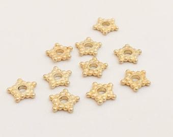10 vermeil 6mm star spacer beads