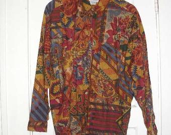 Size medium, Multi Colored Blouse, brown, blues, retro,  long sleeve, 100 pct. cotton, vintage