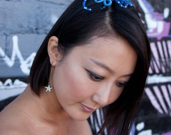 Blue Beaded Headband with Chinese Frog Closure