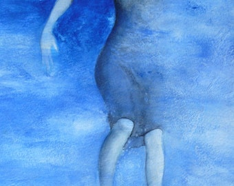 Female Blue original painting-watercolor and acrylic water abyss sea soul revival