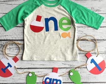 Fishing Birthday// One//First Birthday/Boy//Shirt//Fishing Shirt//Birthday Shirt//Ready To Ship//NEW DESIGN