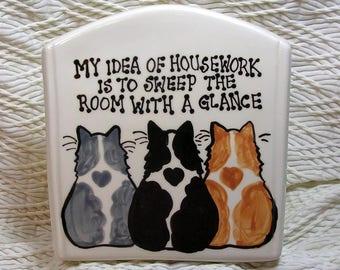 Cat Napkin Holder Mail Holder File Folder Holder Handmade In Clay by Grace M Smith