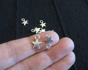 Pack of 30 Antique Gold Tone or Silver tone Mini Star Charms Wish upon a star 11mm x 8mm