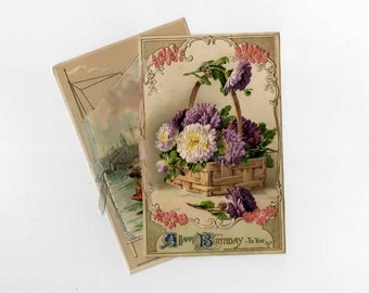 2 Early 1900s Vintage Birthday Postcards - Mixed Media, Collage, Altered Art, Assemblage, Scrapbooking, Art Journal Supplies
