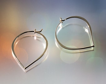 Hammered Sterling Silver Minimalist Hoop Earrings