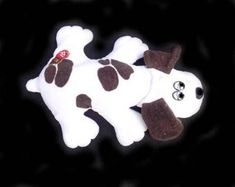 Pound Puppy - 1985 white and brown Pound Puppy - Tonka Pound Puppy = stuffed toy dog - stuffed animal -  # 3