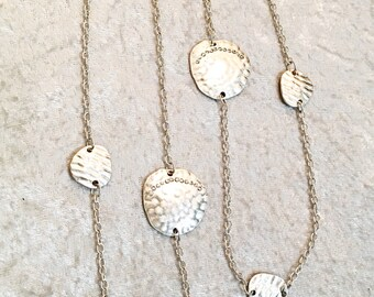 Silver Chain Sea Shell with Crystal Clear Beads Long Necklace / Silver Sea Shell Long Necklace.