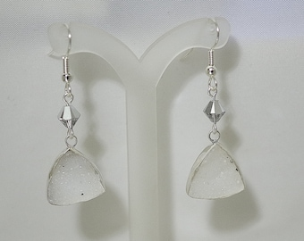 Druzy Triangle Earrings - Sterling Silver - Swarovski Crystals - French Wires - White