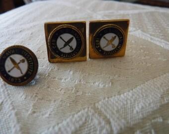 US Naval Institute Annapolis silver bullion insignia cufflinks and tie tack