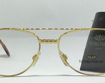 Vittorio Foscari VF 203 / Vintage Eyeglasses / NOS Unworn / 22kt Gold / Made In Italy