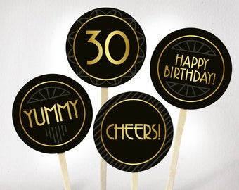 30th birthday cupcake toppers printable PDF. Printable Great Gatsby cupcake toppers gold and black. Dirty thirty decorations. Birthday party