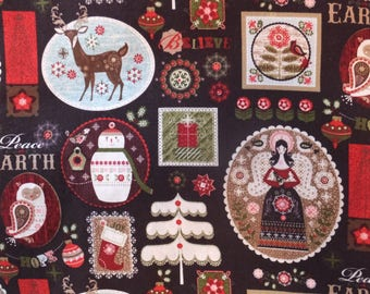 Charming Christmas Peace On Earth Believe Angels Hope Reindeer Snowman Cotton Fabric