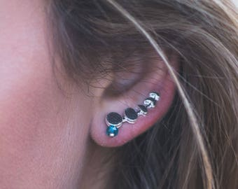 Moon Ear Climber Gold Silver Ear Crawler Jewelry Full Waxing Crescent Moon Phase Earrings Lunar Phase Jewelry Ear Sweep Climb Up