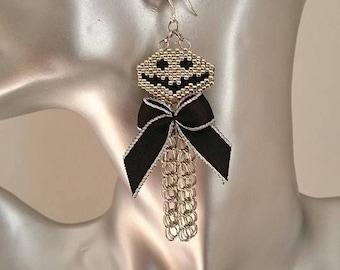new! stunning earrings haloween Jack woven peyote and Silver 925 9