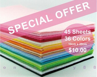 SPECIAL OFFER PACK Felt Fabric -  45 Sheets - 36 Colors - 10cm x 20cm