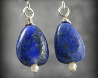 Lapis Lazuli, Pearl, and Sterling Silver dangle earrings