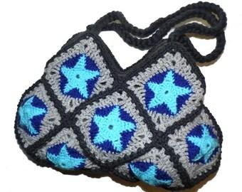 Crochet Bag * BLUE STARS *  Granny Square
