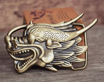 Mens Belt Buckle,Solid Brass Buckle, Dragon Head, Gift For Him