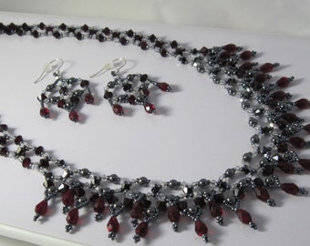 Victorian Chic Garnet and Hematite Necklace and Earrings, 19 1/2 Inch Necklace, Silver Earrings