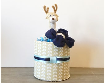 Deer Themed Baby Shower Decor - Deer Mini Diaper Cakes Baby Shower Centerpieces - Little Buck Diaper Cake - Oh Deer! Mini Diaper Cakes