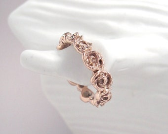 14K Rose Gold Full Wreath Rose Ring, size 7.75 ready to ship. Sample sale price. Other sizes and metal options available for estimate.